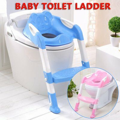 Baby Ladder Seat Chair Kid Potty Trainer Toilet Step Bear'S Style Back Support O
