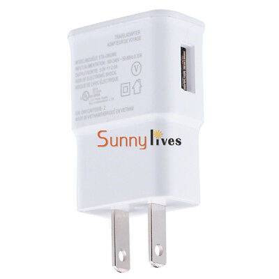 White 5V 2A US Plug 1 Port USB Wall Charger Power Adapter Travel for Samsung