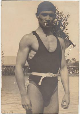 1930s handsome man PHOTO Gay naked BIG BULGE tight swimsuit male Physique muscle