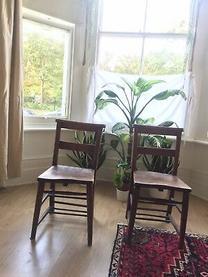 A Pair Of Wooden Vintage Church/school Adult Chairs