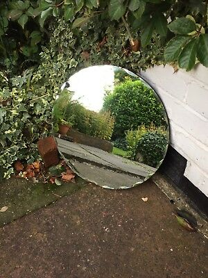 Frameless Round Mirror Vintage Art Deco Round Frameless Scalloped Edge