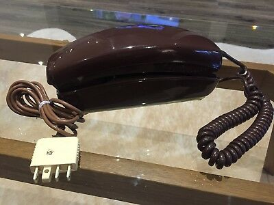 "VINTAGE RETRO 1980s CHOCOLATE BROWN ""TELECOM"" WALL PHONE"