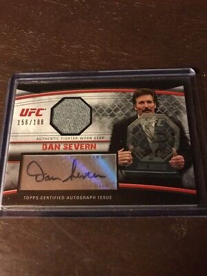 Dan Severn 2010 Topps UFC Knockout Autographed Fighter Gear Relic Card Auto #d