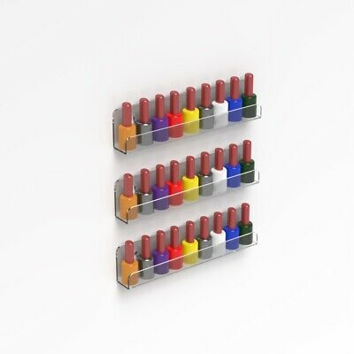 Wall Mounted Acrylic Nail Polish Shelf / Nail Varnish Bottle Display Stand