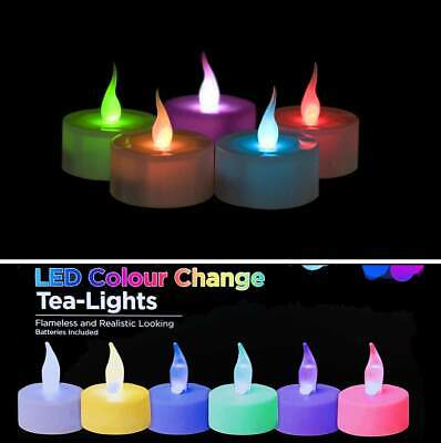 LED Tea Light Candles Colour Changing Multi Flameless Tealight Pk 12/24/48