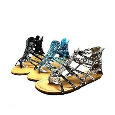 Ladies snake effect multi strap flat gladiator sandals