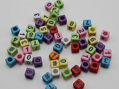 """250 Mixed Color Assorted Number """"0-9"""" """"#"""" Cube Pony Beads 6X6mm"""