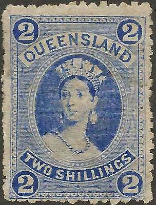 QUEENSLAND 1882-86 Chalon 2/- Ultramarine on Thin paper ACSC22 cv$160 LHMint