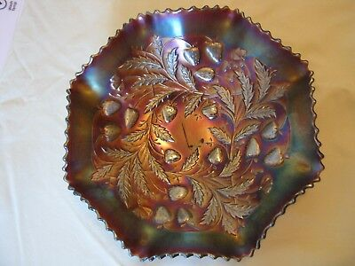 Vintage Amythyst  NORTHWOOD Strawberry Lustre Carnival Glass Bowl.