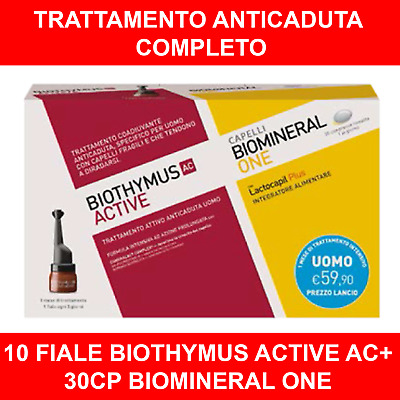 BIOTHYMUS KIT TRATTAMENTO ANTICADUTA UOMO 10 FIALE ACTIVE + 30cp BIOMINERAL ONE