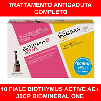 BIOTHYMUS KIT TRATTAMENTO ANTICADUTA DONNA 10 FIALE ACTIVE + 30cp BIOMINERAL ONE