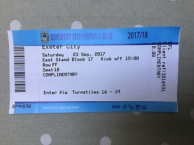 2017/18 COVENTRY CITY v EXETER CITY (LEAGUE 2) TICKET