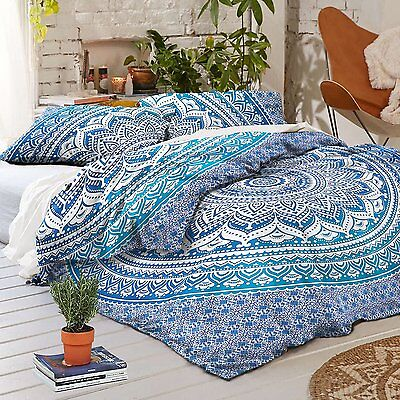 Indian King Cotton Duvet Doona Cover Blue Ombre Mandala Quilt With Pillow Cover