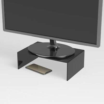 Black Computer Desktop Monitor Stand Laptop TV Display Screen Riser Shelf UK