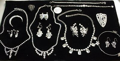 VINTAGE to NOW SILVERTONE & CLEAR RHINESTONE 14 ITEM LOT~EXCELLENT CONDITION!