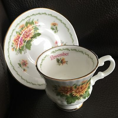 "Vintage Miniature Handcrafted ""November"" Elizabethan Bone China Cup & Saucer"