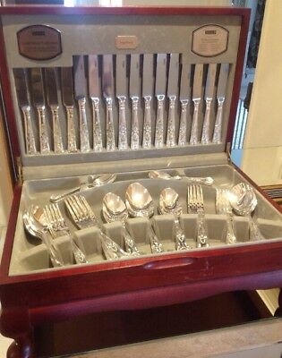 Vintage Viners Kings Royal 58 Piece 8 Place Silver Plated Canteen Cutlery