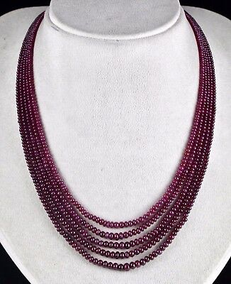 Classic 5Line 230 Cts Natural Certified Ruby Round Beads Necklace With Silk Cord