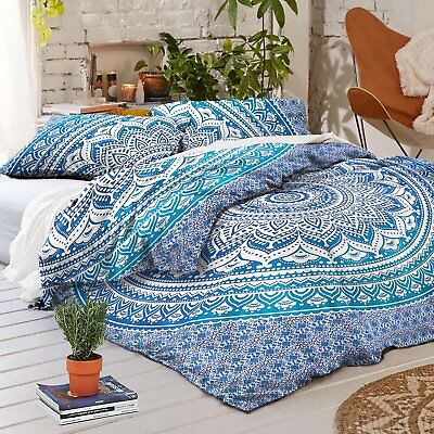 Indian Blue Ombre Cotton Duvet Donna Mandala Tapestry Quilt With 2-Pillow Cover@