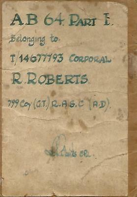 Ww2 Small Collection Army Docs Of Corpoal R.as.c. Far East - Ab64 Service Book