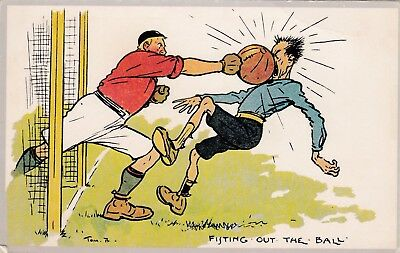 Original Vintage Signed Tom B  Football Comic Postcard,  Unused .