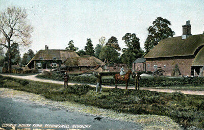 1912 postcard Shooting Party Corner House Farm ECCHINSWELL NEWBURY Berkshire