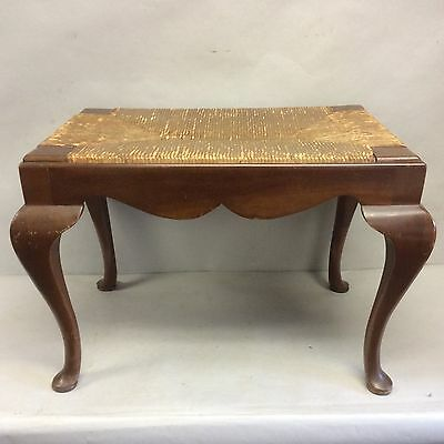 Queen Anne Pad Foot Mahogany Footstool w/Rush Seat 16.5""