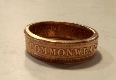 #HAND MADE 1934 COMMONWEALTH OF AUSTRALIA PENNY - COIN RING - size 11#FREE POST#