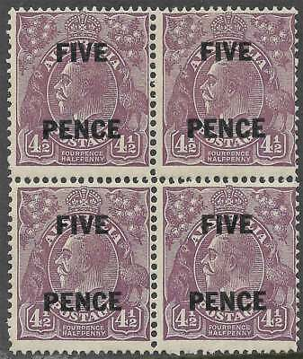 AUSTRALIA 1930 KGV 5d on 4 1/2d Violet Block of4 sg120 cv£60 Lightly hinged mint