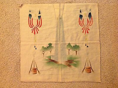 Antique Bunker Hill Monument Tinted Cotton Pillowtop Framable Fabric Piece Rare