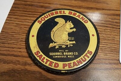 Vintage Squirrel Brand Salted Peanuts Tin Lid Only