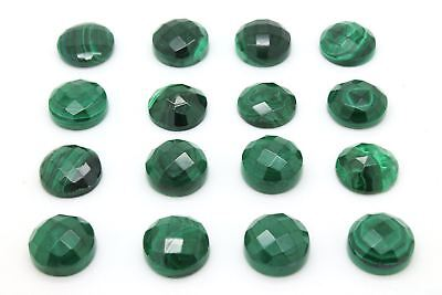 1x Natural Malachite Faceted 8mm Round Cabochon Gemstone Semiprecious Wholesale