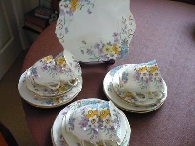 Vintage Tuscan Plant 5031A Daffodil & Pansy Bone China Tea Set