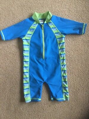 Boots Mini club Boys swim suit all-in-one Swimming Costume zip blue/lime 6-9mths