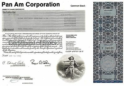 Pan Am Corporation, Domestic Share Certificate, 1986  (10.000 Shares)