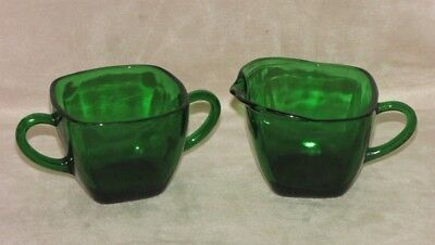Vintage Fire King Anchor Hocking Forest Green Glass Square Creamer & Sugar Set