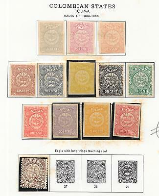 Colombia/TOLIMA stamps 1884 collection of 13 LOCAL stamps HIGH VALUE!