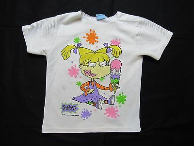 VTG 90s RUGRATS ANGELICA t shirt WOMENS  XS/S white DISTRESSED