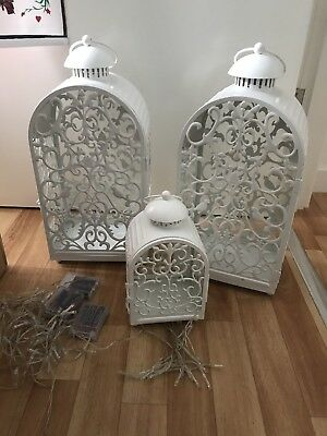 White Lantern Set of 3 Wedding Decor With LEDs