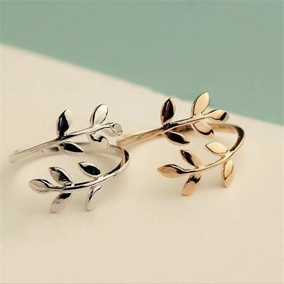 Women Charms Ring Gold Plated Leaves Open Adjustable Wedding Rings Jewelry Gift