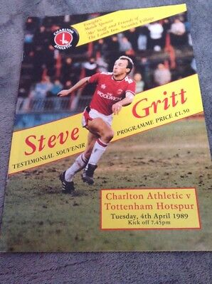 CHARLTON ATHLETIC v TOTTENHAM HOTSPUR 1989 STEVE GRITT TESTIMONIAL FRIENDLY