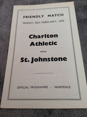 CHARLTON ATHLETIC v ST JOHNSTONE 1970 FRIENDLY