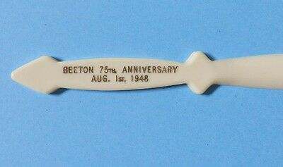 VINTAGE 1948 BEETON ONTARIO 75th ANNIVERSARY LETTER OPENER DATED AUG 1st 1948