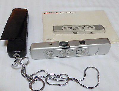 """Minox C """"007"""" Spy Camera   Chrome S/N 2351196 From 1970 With chain With Case and"""