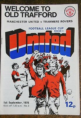 Manchester United V Tranmere Rovers (League Cup) Football Programme 1-9-1976