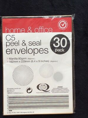 C5 Paper peel/seal Brown Envelope for home school and office use. Brand New (30)