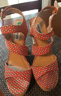 f943268f923 Steve Madden JENNY Platform Wedge Espadrille Sandal Orange Cream