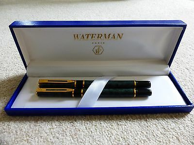 Waterman Laureat Green/black Marbled Fountain Pen And Rollerball Pen In Box 1993