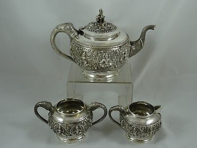 STUNNING INDIAN silver TEA SET, c1900, 1225gm