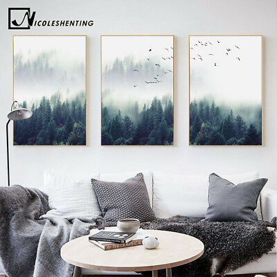 Nordic Style Forest Landscape Wall Art Canvas Poster Prints Home Decoration